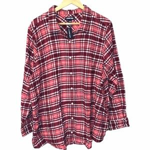 Lands End Plaid Long Sleeved Collared Flannel